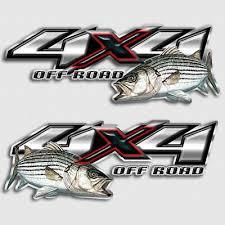 Striper Bass Fishing 4x4 Truck Decal Set Off Road Sticker For Silverado Gmc Ebay