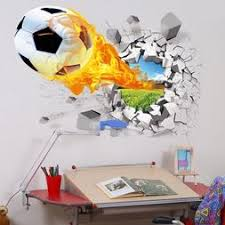 3d Soccer Ball Football Wall Sticker Decal Kids