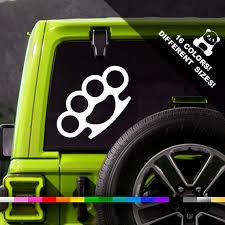 Brass Knuckles Car Vinyl Decal Knuckle Truck Or Bumper Vinyl Etsy