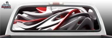 Abstract Red White Fantasy Tattoo Graphic Window Perf Perforated Wrap Vinyl Decal Truck Pickup Suv