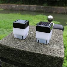 2 X 2 Inch Square Solar Post Cap Light For Wrought Iron Fencing Front