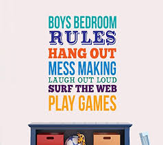 Amazon Com Manukadesigns Boys Quote Wall Decal Children's Room Rules Decoration Bright Colors Kids Bedroom Rules Home Decor G1852 20 Width X 28 Height Home Kitchen