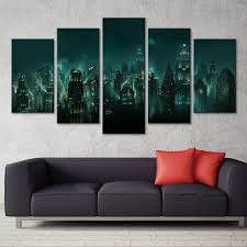 Waliicorners Canvas Pictures Home Decor Hd Print 5 Panel Bioshock Rapture Night View Painting Modular Abstract Game Poster Wall Art Framework Waliicorner S Store