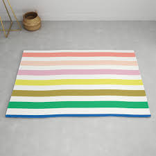 Rainbow Stripes Colorful Decor For Kids Room Nursery Boy Or Girl Rug By Charlottewinter Society6