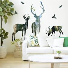 Forest Deer Wall Stickers Home Decor Living Room Office Decorations 3d Effect Wall Decals Pvc Mural Art In 2020 Wall Stickers Home Decor Deer Wall Wall Stickers Home