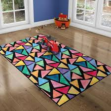 Deerlux 8 Ft X 10 Ft Large Colorful Kids Room With Nonslip Backing Multi Triangle Pattern Area Rug Qi003761 L The Home Depot