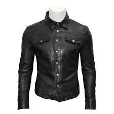 men s gents black real leather shirt jacket