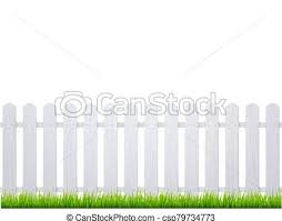 White Fence With Grass Wooden Picket Background Isolated Farm Garden Barier Illustration