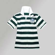 white striped short sleeve rugby shirt