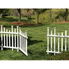Amazon Com Zippity Outdoor Products Zp19026 Lightweight Portable Vinyl Picket Fence Kit W Metal Base 42 H X 92 W White Garden Outdoor
