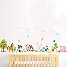Amazon Com Lovely Animals Farm Wall Stickers For Home Decoration Kids Room Bedroom Cow Horse Pig Chicken Mural Art Diy Pvc Wall Decals Kitchen Dining