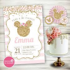 Kit Imprimible Personalizado Minnie Rosa Y Dorado Glitter Cumpleanos