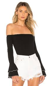 About Us Addie Bell Sleeve Off Shoulder Top in White & Black | REVOLVE