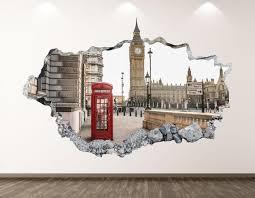 Big Ben Wall Decal London City 3d Smashed Wall Art Sticker Etsy