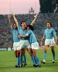 Ciro Ferrara celebrates his goal with teammates Fernando De Napoli ...