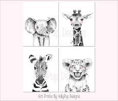 Amazon Com Zoo Animal Nursery Art Kids Room Decor Baby Wall Prints Safari Animals Black White Nursery Decor Animal Decor For Nursery Elephant Giraffe Zebra Lion Set Of 4 Unframed Art Prints Handmade