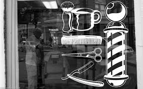 3m Wall Vinyl Sticker Barber Shop Logo Sign Hair Salon Beauty Spa Cuttery Set Sa001