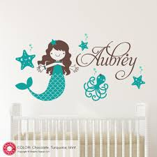 Mermaid Starfish Wall Decal Personalized Name Ocean Baby Nursery Graphic Spaces