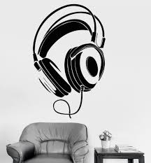 Wall Decal Headphones Head Phones Music Vinyl Sticker Unique Gift Z3220 Music Wall Stickers Wall Decals Vinyl