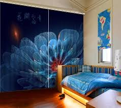 Navy Blue Floral Butterfly Curtains Girl S Bedroom Curtain For Kids Bedroom Polyester Blackout Window Curtains For Living Room Buy At The Price Of 42 40 In Aliexpress Com Imall Com