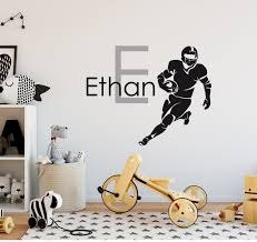 Soccer Wall Decal Footballer Wall Decal Boy Name Decal Etsy