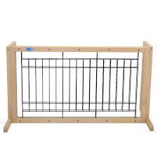 Wood Dog Gate Adjustable Indoor Solid Construction Pet Fence Gate Free Sandinrayli