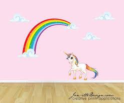 Rainbow Unicorn Wall Decal Unicorn Wall Sticker Rainbow Wall Etsy