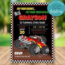 Editable Monster Truck Rally Feliz Cumpleanos Invitaciones Diy
