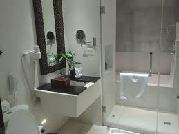 large stone tub with shower also inside