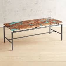 moraine wood teal resin coffee table