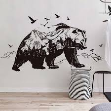 Mountain Black Bear Animal Cute Wall Sticker Living Room Bedroom Decoration Murals Pvc Stickers Fast Shipping Wish Bear Wall Decal Wall Stickers Mountains Vinyl Wall Art Decals