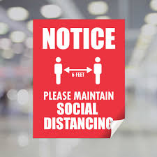 Notice Please Maintain Social Distancing Window Decal Plum Grove