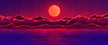 wallpaper moon rays red e sky