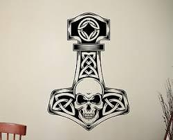 Thor Hammer Wall Sticker Mjolnir Vinyl Decal Viking Superhero Bedroom Decor 3thr Ebay