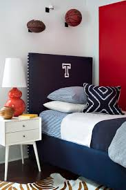 Red And Blue Boys Bedroom With Navy Monogram Headboard Contemporary Boy S Room