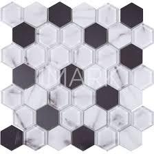 hexagon carrara ink jet printed glass