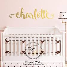 Gold Name Wall Decal Gold Wall Decal Baby Girl Nursery Etsy