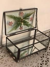 vintage glass trinket jewelry box dried