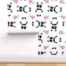 watercolor panda and rose pattern