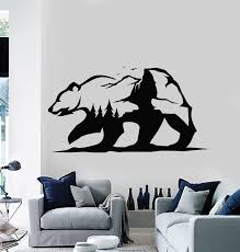 Vinyl Wall Decal Abstract Grizzly Bear Wild Animal Nature Adventure St Wallstickers4you