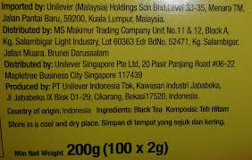 lipton yellow label tea nutrition facts