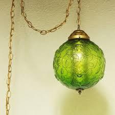 vintage hanging lamp light green globe