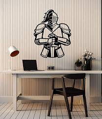 Amazon Com Large Vinyl Wall Decal Medieval Knight Armor Sword Boys Room Man Cave Decor Stickers Mural Ig6129 Black Home Kitchen