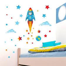 Big Blue Rocket Wall Sticker Pack Get Sticking