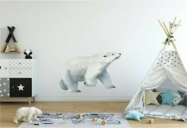 Polar Bear Wall Decal Arctic Animals Watercolor Removable Wall Sticker Kids Room Ebay
