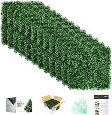 Amazon Com Flybold Artificial Boxwood Panels Topiary Hedge Plant Uv Protected Privacy Screen Outdoor Indoor Use Garden Fence Backyard Home Decor Greenery Walls Pack Of 12 Pieces 20 X 20 Inch Dark