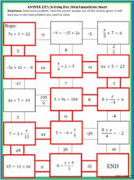 solving 2 step equations maze algebra