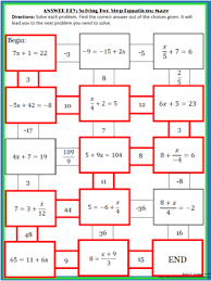 solving 2 step equations maze algebra