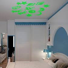 Glow In The Dark Stickers Moon Planets Stars Ceiling Wall Bedroom Luminous Green Dark Stickers Durable