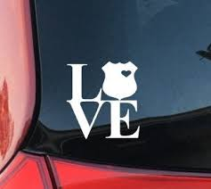 Police Love Decal Policeman Decal Police Officer Car Decal Love Decal Computer Laptop Coffee Mug Yeti Yeti Sticker Police Shield